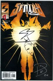 The Sentry #1 Dynamic Forces Remarked Signed x3 Jenkins Lee Villarubia COA Marvel comic book